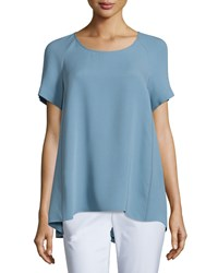 Lafayette 148 New York Kate Short Sleeve Silk Blouse Portofino Women's