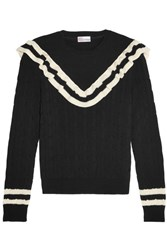 Red Valentino Redvalentino Ruffle Trimmed Striped Cotton Sweater Black