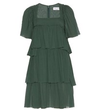 Sonia Rykiel Pleated Cotton Dress Green