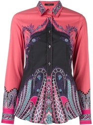 Etro Fitted Printed Shirt Pink Purple