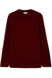 J.Crew Verde Ribbed Knit Cashmere Sweater Burgundy