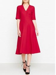 Lk Bennett L.K. Vivi V Neck Dress Red Roca Red