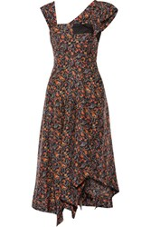 Isabel Marant Rocky Asymmetric Printed Silk Voile Midi Dress Midnight Blue