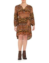 Jessica Simpson Plus Floral Print Hi Lo Belted Dress Brown