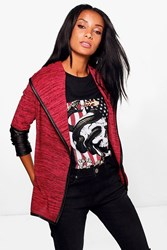 Boohoo Leather Look Sleeve Waterfall Cardigan Dark Red