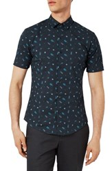 Topman Men's Muscle Fit Bug Print Shirt Navy Multi