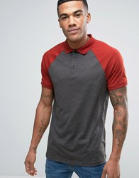 Asos Polo In With Contrast Raglan Sleeves In Charcoal Marl Red Gray
