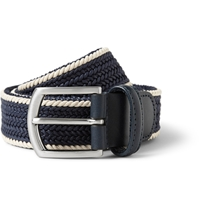 Anderson's Navy 3.5Cm Leather Trimmed Woven Cotton Belt Blue