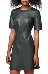Women's Topshop Faux Leather Shift Dress Green