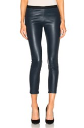 Theperfext Brittany Cropped Leather Pants In Blue