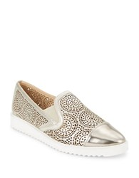 Karl Lagerfeld Cora Cutout Metallic Leather Slip On Sneakers Silver