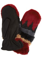Agnelle Sylvia Rabbit Fur And Suede Mittens Multicoloured