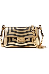 Fendi Baguette Micro Appliqued Metallic Textured Leather Shoulder Bag Gold