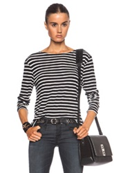 R 13 R13 Striped Boat Neck Cotton Tee In Black White Stripes