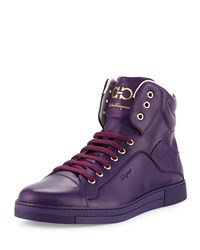 Neiman Marcus Stephen 2 Calfskin High Top Sneaker Purple