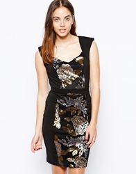 Little Mistress Bodycon Dress With Heavy Embellishment Black
