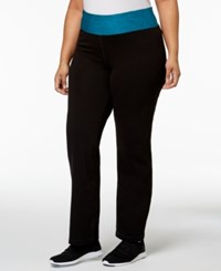 Ideology Plus Size Rapidry Open Leg Yoga Pants Aquatic Teal