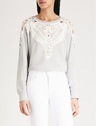 Paige Eilise Lace Trimmed Cotton Blend Sweatshirt Heather Grey