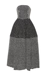 Christian Siriano Raffia Tea Length Dress Black White