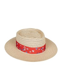 Claudie Pierlot Floral Band Trilby Hat Red