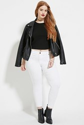 Forever 21 Plus Size Skinny Ankle Jeans White