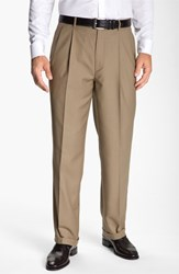 Men's Big And Tall Linea Naturale Pleated Microfiber Dress Pants Taupe