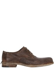 Shoto Laser Cut Washed Leather Derby Shoes