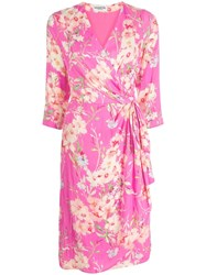 Essentiel Antwerp Floral Print Wrap Dress Pink