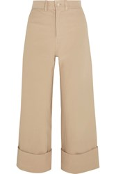 Sea Cropped Stretch Canvas Wide Leg Pants Beige