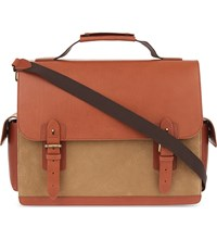 Aspinal Of London Shadow Convertible Leather Briefcase Fog Tan
