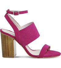 Office Time 3 Strap Suede Heeled Sandals Pink Suede Wood Heel