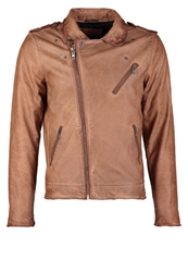 Freaky Nation Faux Leather Jacket Cognac