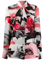Alexander Mcqueen Torn Rose Print Blouse Black