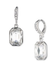 Givenchy Reagan Imitation Rhodium Plated Emerald Cut Drop Earrings Silver