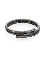 John Hardy Bamboo Small Sterling Silver Double Coil Bracelet Gunmetal