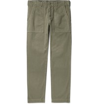 Alex Mill Slim Fit Herringbone Cotton Trousers Green