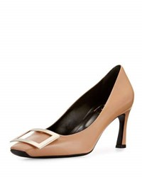 Roger Vivier Trompette Leather Buckle Pump Sand Neutral