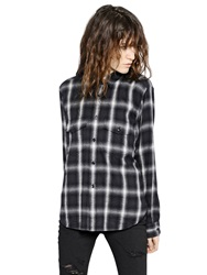 Saint Laurent Plaid Wool Flannel Shirt Black White