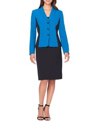 Tahari By Arthur S. Levine Colorblocked Jacket And Skirt Suit Set Pacific Blue