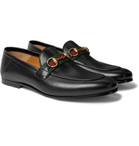 Gucci Brixton Webbing Trimmed Horsebit Collapsible Heel Leather Loafers Black