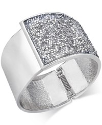 Inc International Concepts Silver Tone Glittery Wide Hinged Bangle Bracelet Only At Macy's