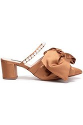 Mother Of Pearl Woman Ivy Bow Embellished Satin Mules Camel