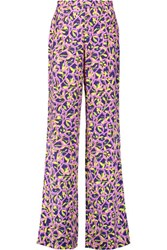 Peter Pilotto Cleo Printed Stretch Silk Wide Leg Pants Lavender