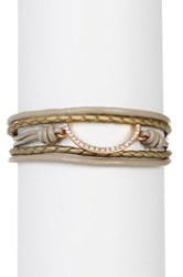 Saachi Taupe Horseshoe Braided Leather Bracelet Brown