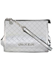Armani Jeans Quilted Logo Clutch Women Polyester Polyurethane One Size Metallic
