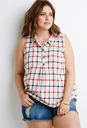 Forever 21 Collared Plaid Blouse Cream Red