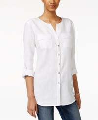 Jm Collection Linen Utility Shirt Only At Macy's Bright White