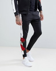 Kings Will Dream Skinny Joggers With Rose Print Side Stripes Black