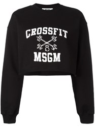 Msgm Cropped Logo Sweatshirt Black