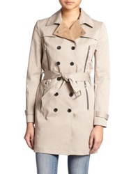 The Kooples Leather Collar Stretch Cotton Trench Coat Beige